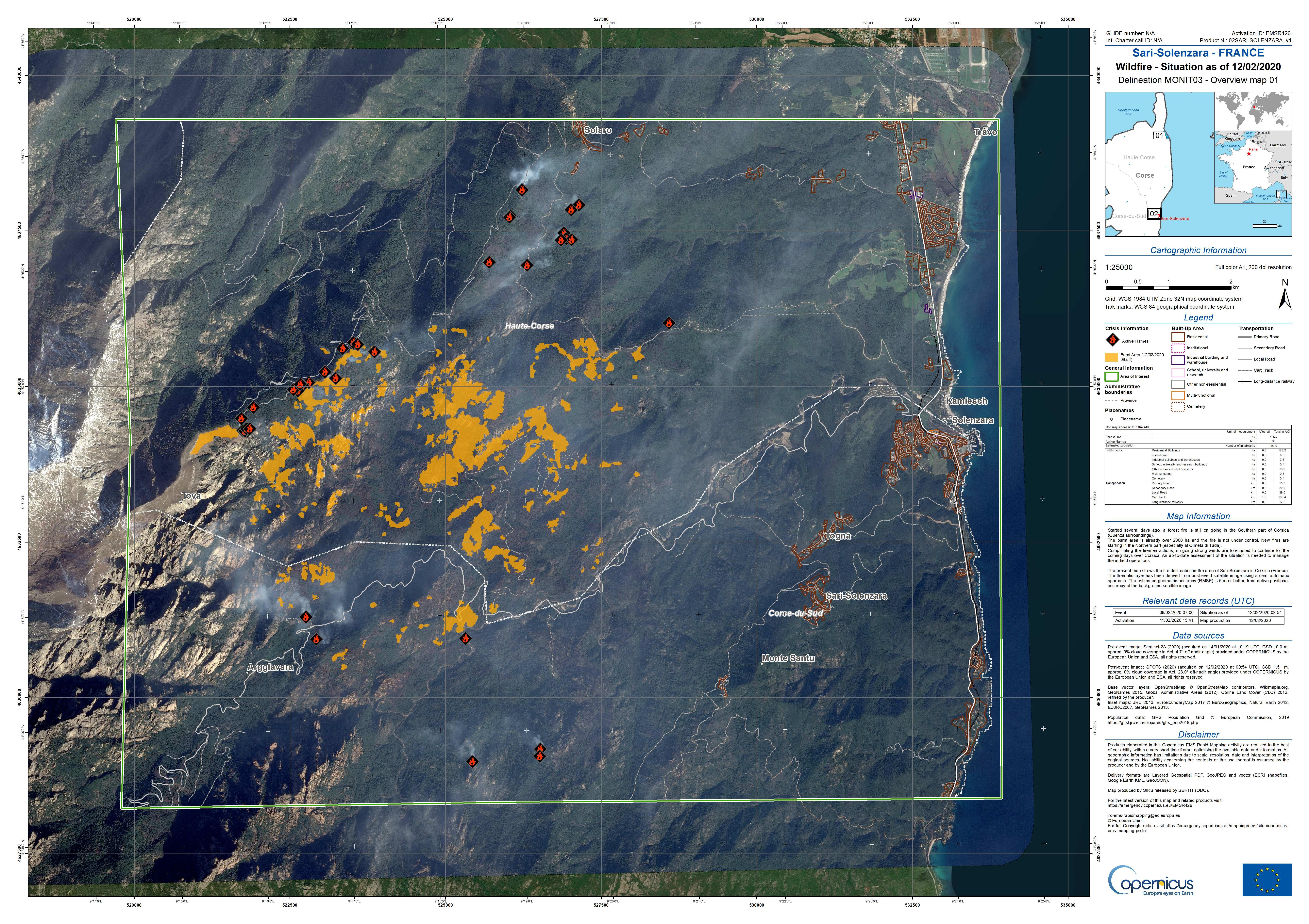 Tempête Ciara - Corse - Incendie - Emergency Mapping Service - Sari-Solenzara - Copernicus - satellite - fire - feux - SPOT6 - Airbus Defence and Space