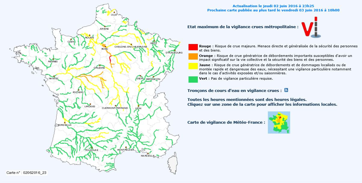 Carte de vigilance - Crues - Inondations - France - Juin 2016 - Météo France -Vigicrues