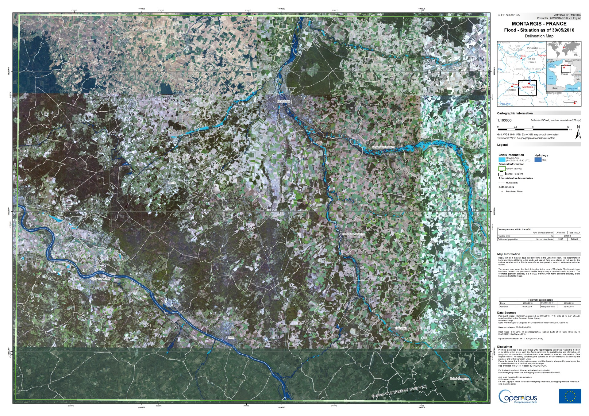 Copernicus - EMS - Emergency - EMSR165 - France - floods - Inondations - Juin 2016