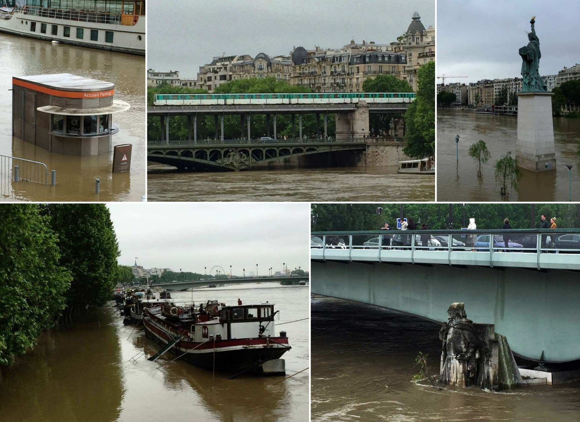 Inondations - France - Juin 2016 - Paris - Seine - Zouave - Statue de la liberté - Crue - Palais de Tokyo - Pont de Bir Hakeim