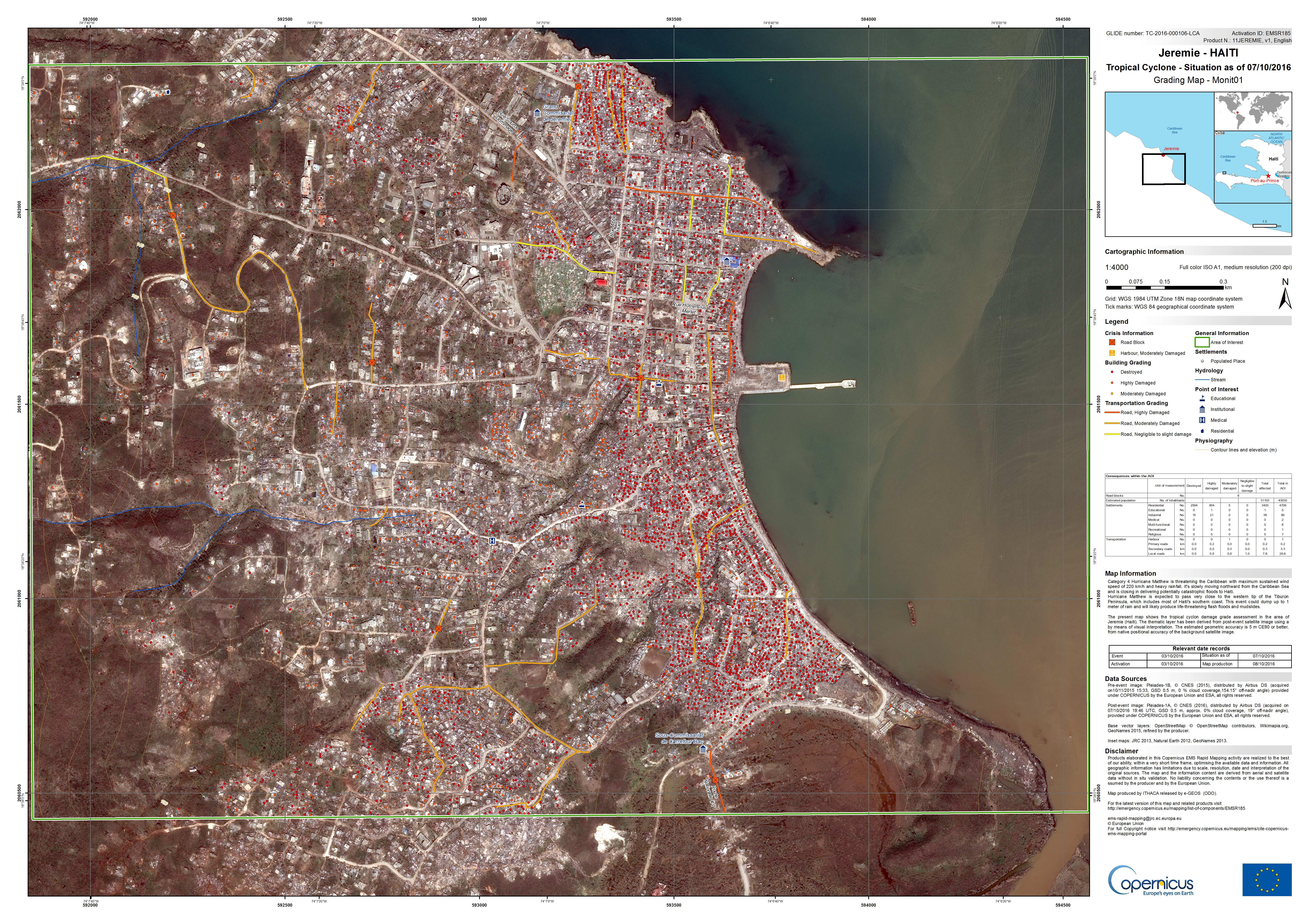 Matthew - Haiti - Cartographie rapide - Rapid mapping - Copernicus - Emergency mapping service - Jérémie - Jeremie - dégâts - grading map - Commission européenne - satellite d'observation