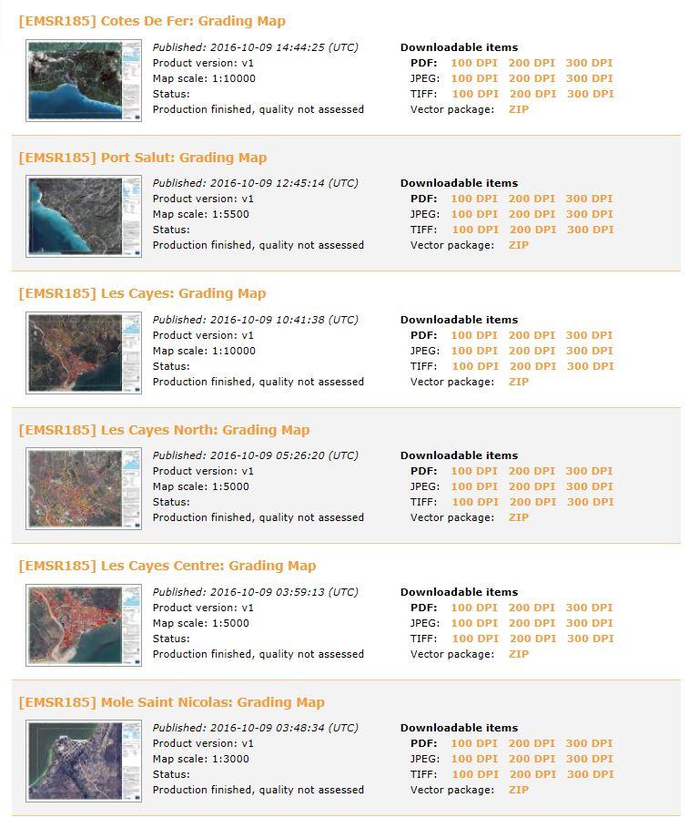 Haiti - Matthew - Emergency Mapping Service - Copernicus - Cartographie rapide - Liste des produits - Cotes de fer - Port Salut - Les Cayes - Mole Saint-Nicolas