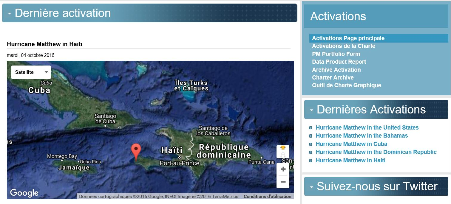 Matthew - Ouragan - Hurricane - International charter Space and major disasters - Activation - Haiti - US - Cuba - Caraibles - Dominican Republic - Charte internationale