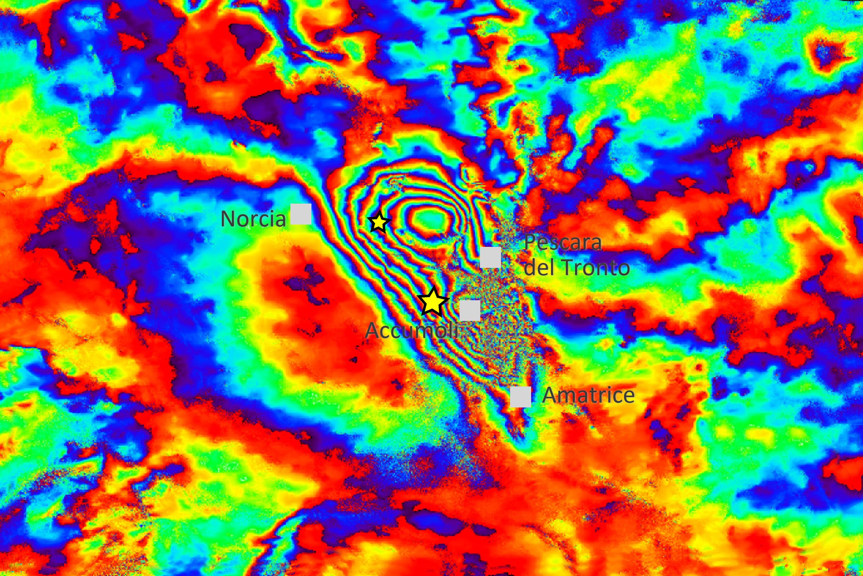Italie - Tremblement de Terre - 24 août 2016 - Interférométrie - Sentinel-1 - Copernicus - ESA - IREA - Fault - plates - tectonique - Terromoto