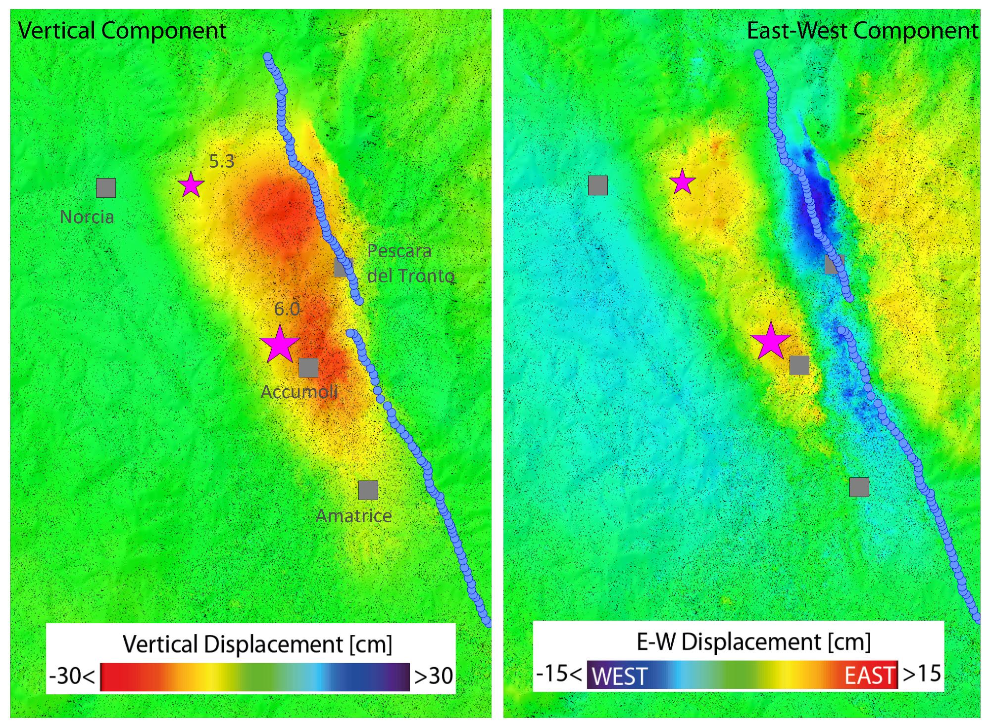 Italie - Tremblement de Terre - 24 août 2016 - Interférométrie - Sentinel-1 - Copernicus - ESA - IREA - Fault - plates - Terromoto - Subsidence - déplacement - faille - réplique - épicentre