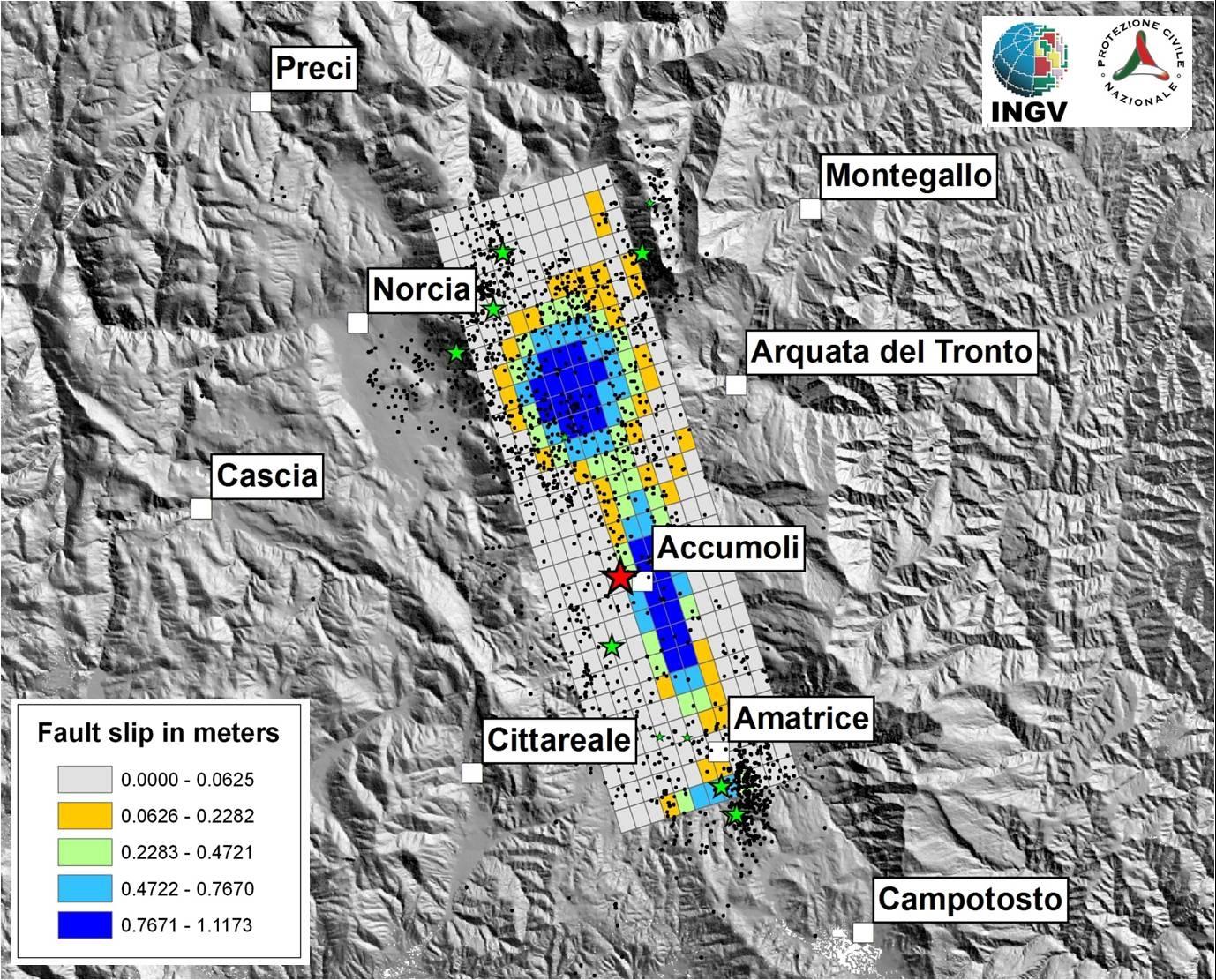Italie - Tremblement de Terre - 24 août 2016 - Interférométrie - Sentinel-1 - Accumoli - Copernicus - ESA - INGV - DPC - Norcia - Amatrice - Fault - plates - Terromoto - Subsidence - déplacement - faille - réplique - épicentre