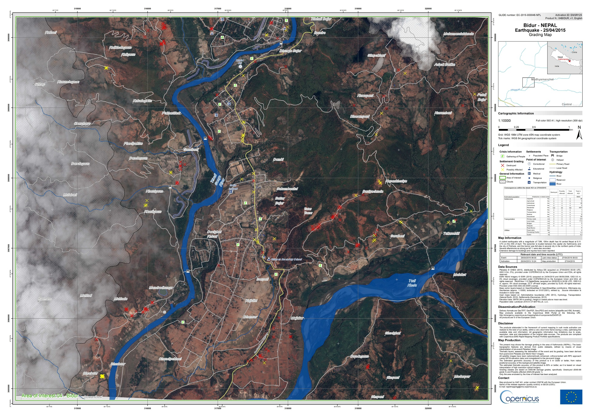Nepal - Earthquake - Bidur - Copernicus - Emergency Mapping Service - Rapid mapping - Grading map - European Commission - Pleiades - GAF - EMSR 125