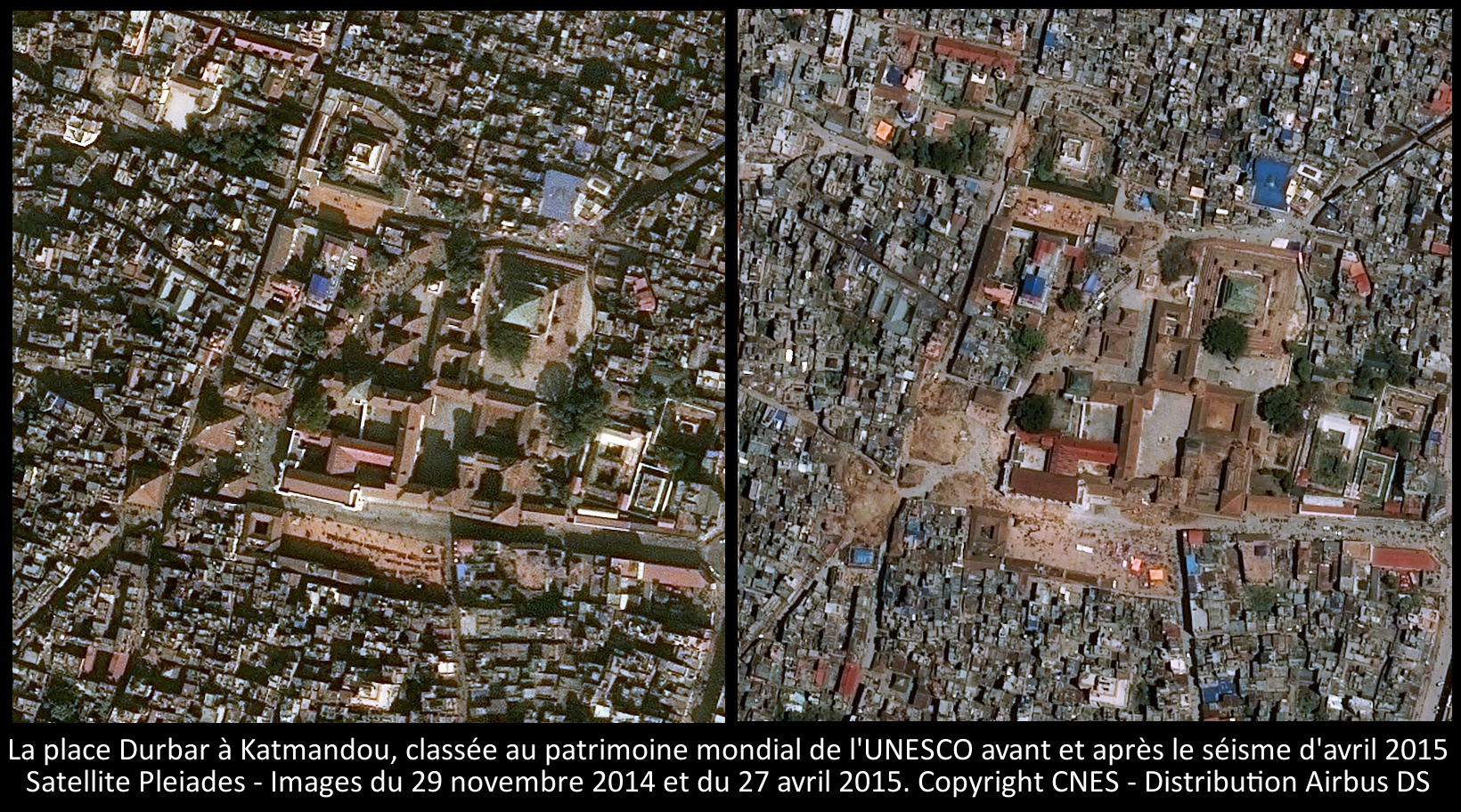 La place Durbar à Katmandou - Images du satellite Pleiades prises avant et après le séisme d'avril 2015 - CNES - Airbus DS