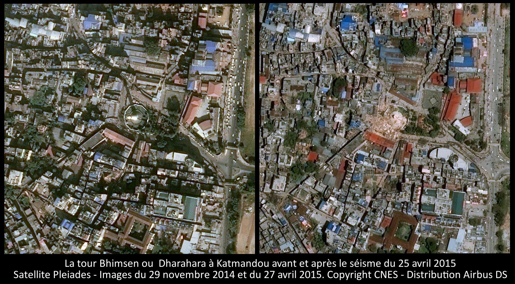 La tour Bhimsen Dharahara à Katmandou - Images du satellite Pleiades prises avant et après le séisme d'avril 2015 - CNES - Airbus DS