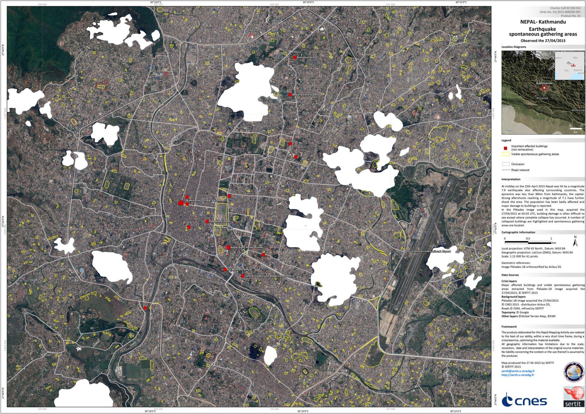 Nepal - Katmandou - Séisme Avril 2015 - Cartographie rapide - SERTIT - CNES - Airbus Defence and Space - Pleiades - PLéiades - satellite - Charte internationale espace et catastrophes majeures