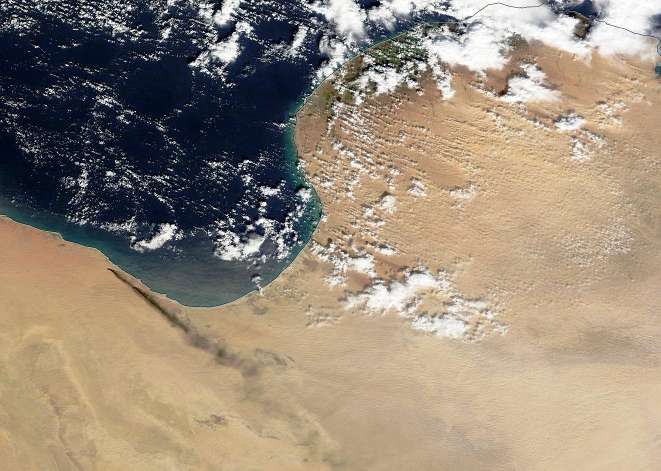 Libye - état islamique - EI - incendie - feux - terminaux pétroliers - Cuves stockage pétrole - Janvier 2016 - Satellite MODIS - Terra