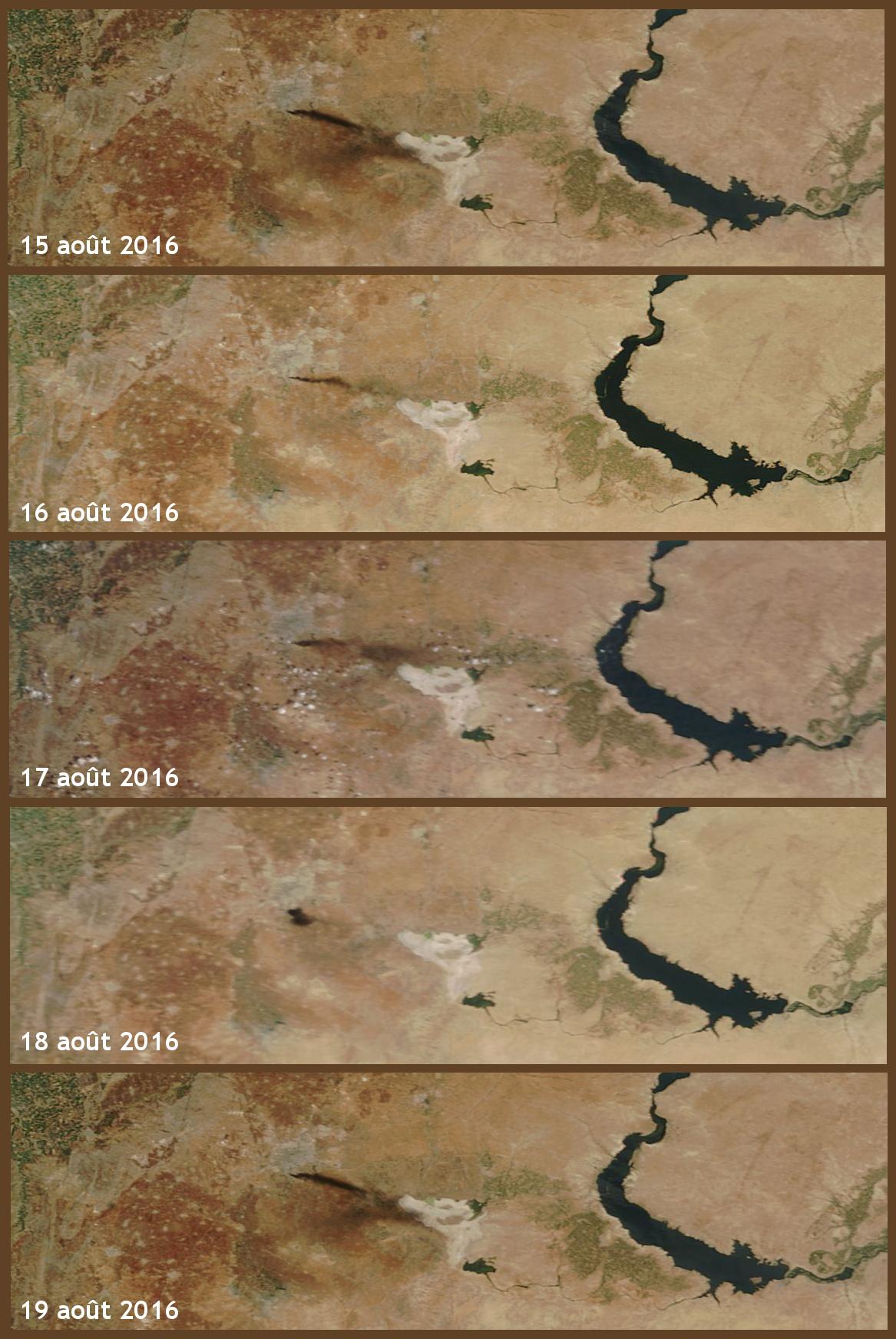 Syrie - Alep - Aleppo - Siège Bombardements - Raid aérien - rebelle - Omran - MODIS - Terra - NASA - 14 août 2016 - satellite - Worldview - EOSDIS