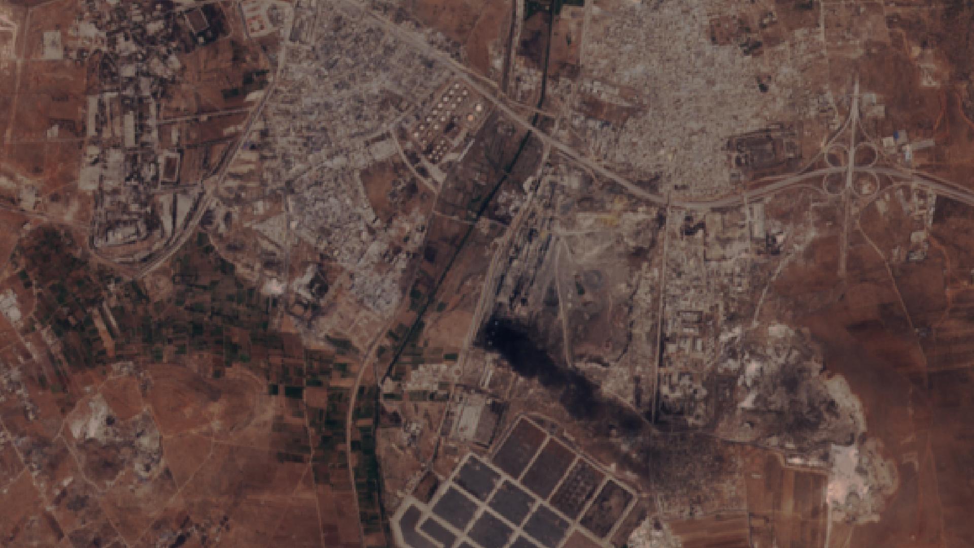 Syrie - Alep - Aleppo - Siège Bombardements - Raid aérien - rebelle - Omran - Sentinel-2 - ESA - 14 août 2016 - satellite - Copernicus - Union européenne