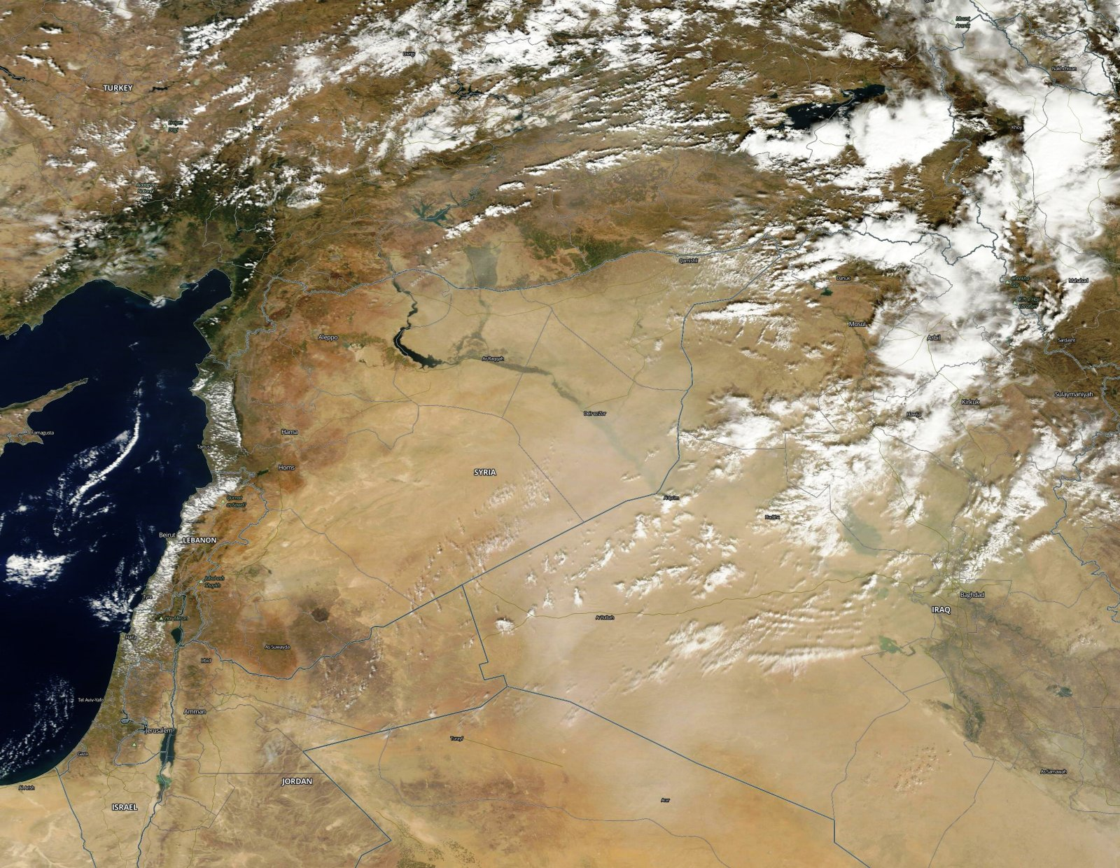 MODIS - Terra - Syrie - Frappes russes - Survol Turquie - Couverture nuageuse - F16 - Mig