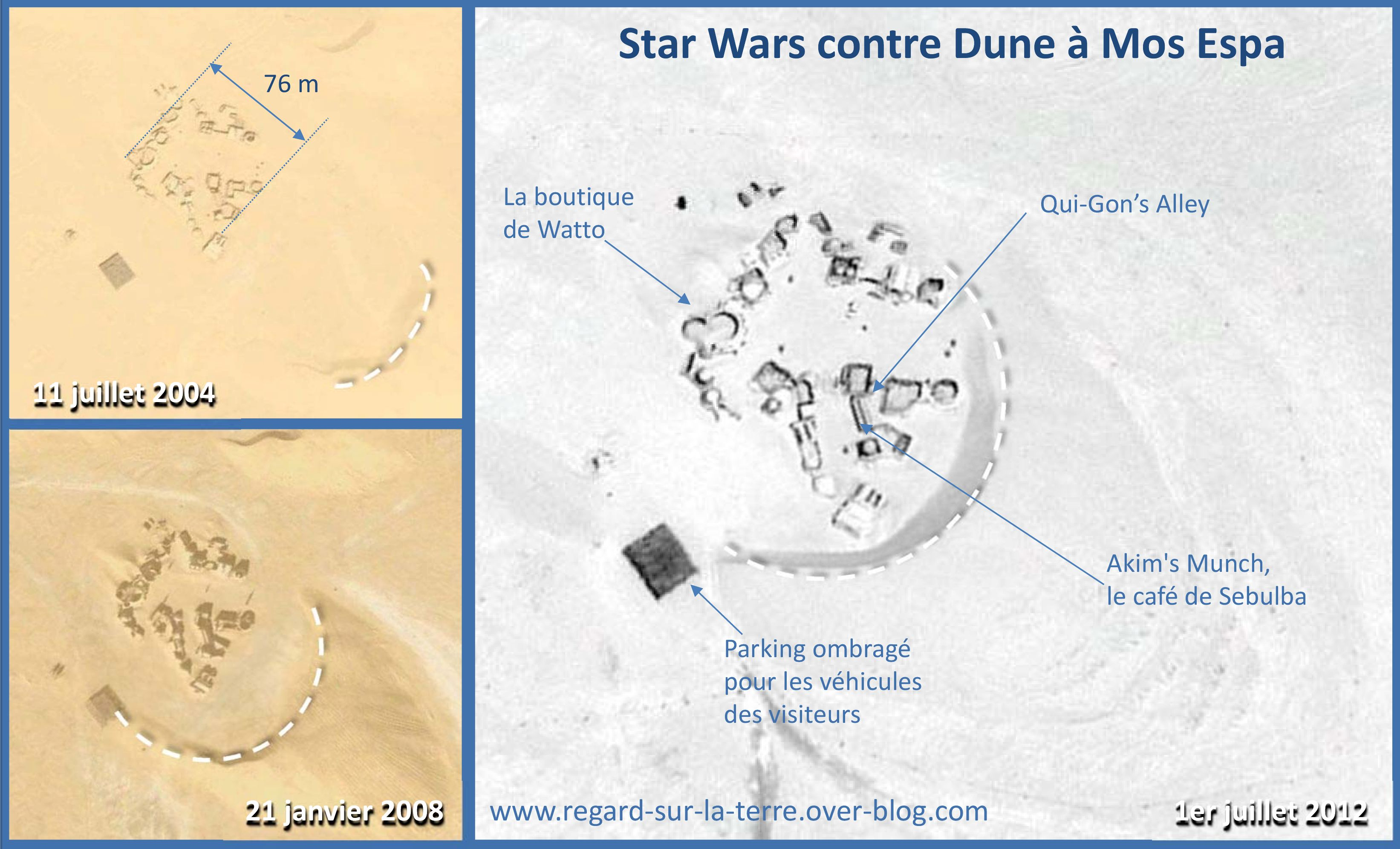 Tunisie - Ong Jmal - Mos Espa - Progression de la dune - Record drapeau - Star Wars - Dark Vador dans le sable - Google Earth