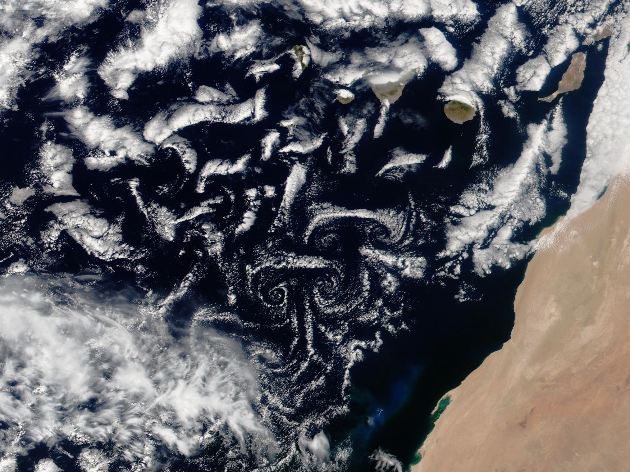 Allée de tourbillons de Bénard - Von Karman - Satellite - Canaries - Kármán vortex street