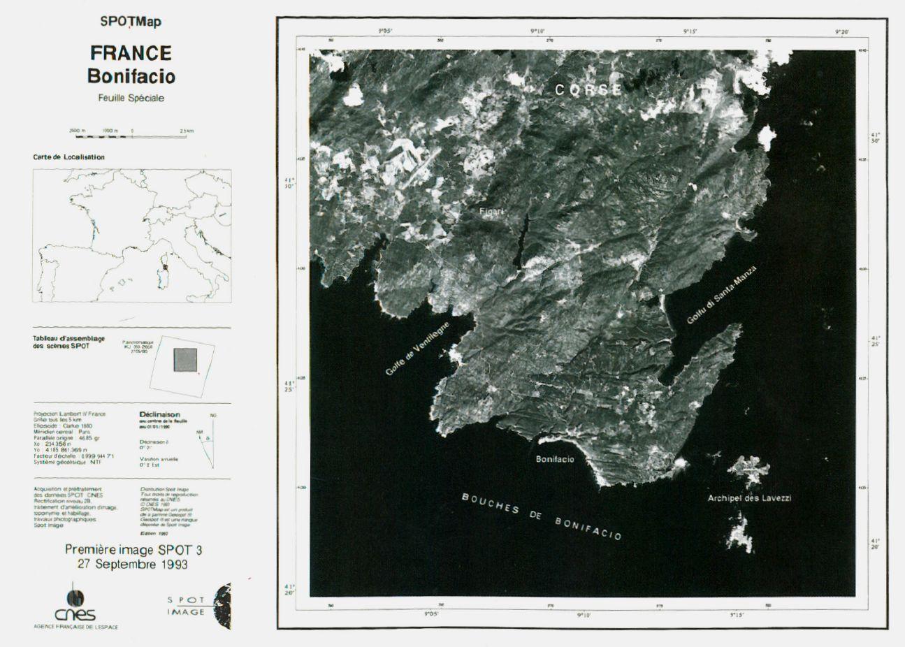Lancement SPOT-3 - Première image SPOT-3 - Corse - Bonifacio - Iles Lavezzi - 27 septembre 1993
