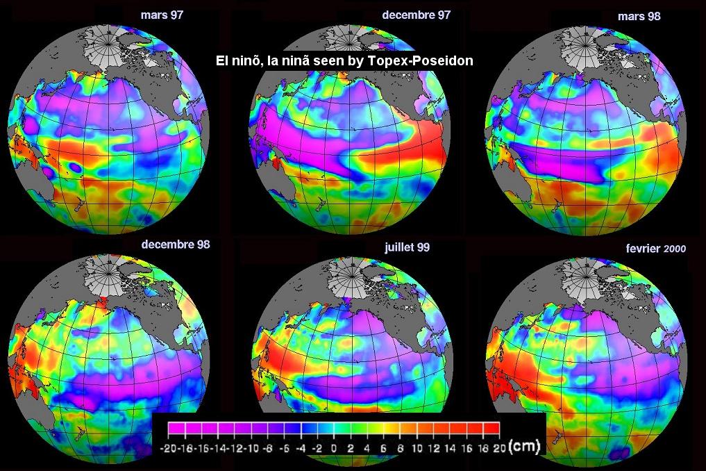 El Ninõ - La Niña - 1997-2000 - Topex-Poseidon - Altimétrie spatiale - Océanographie