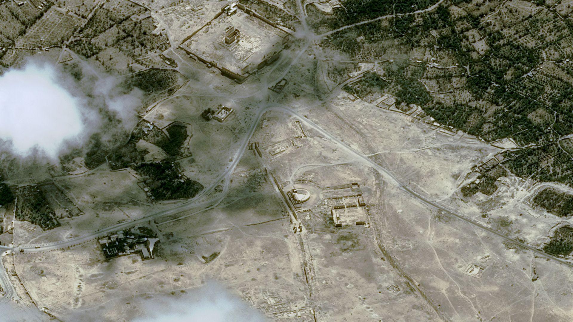 Satellite Pleiades - Palmyre - Syrie - temple de Baalshamin - après destruction par EI - 25 août 2015 - CNES – Airbus Defence and Space - UNITAR