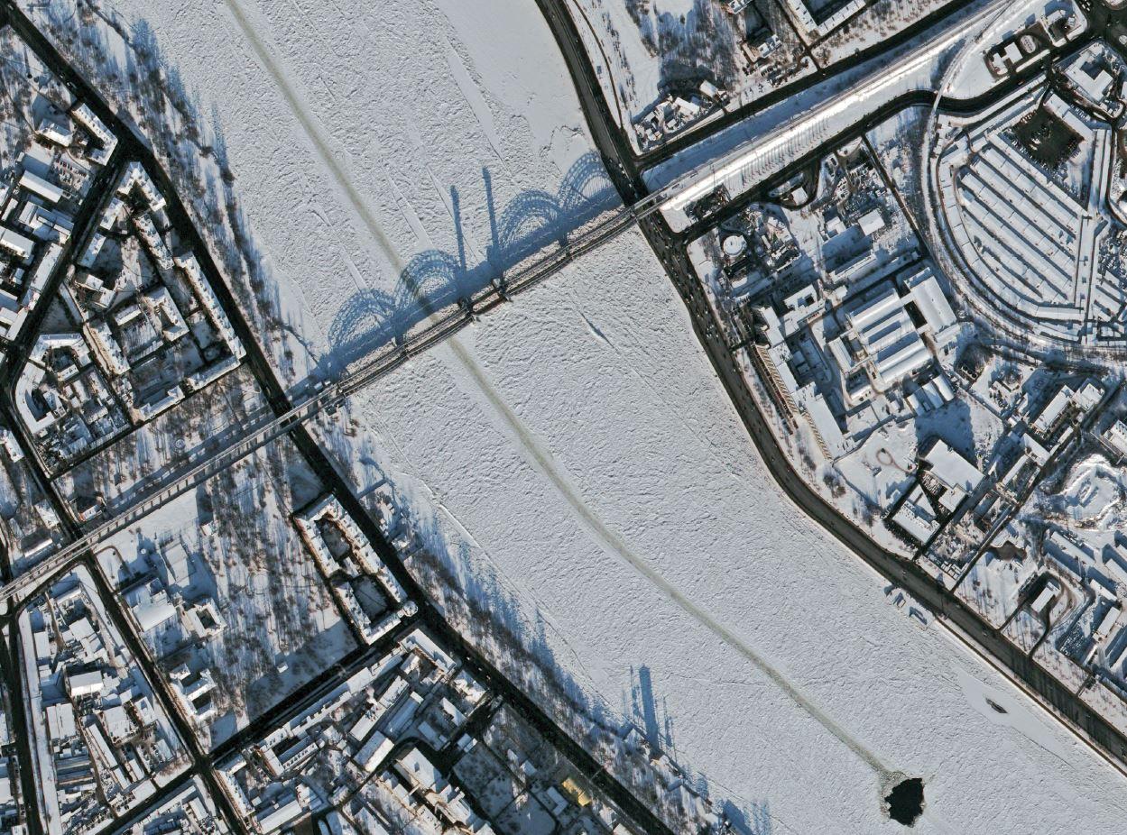 Russie - Saint-Pétersbourg - Neva - sous la neige - Pleiades - Pléiades - satellite